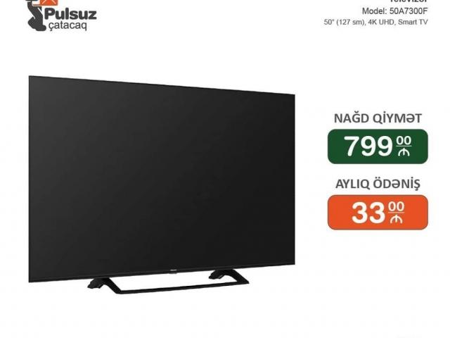 Hisense Tv 127 sm Smart UHD ekran İlkin Odenissiz Arayissiz ve Zaminsiz