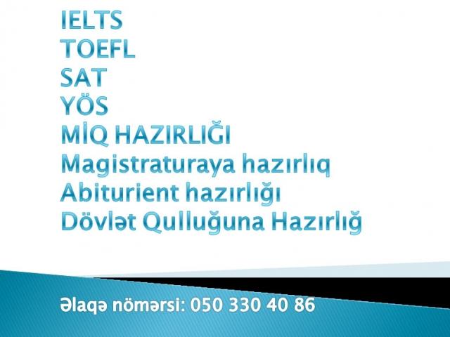 IELTS TOEFL SAT YÖS MİQ MAGİSTR Abiturient hazirliğı