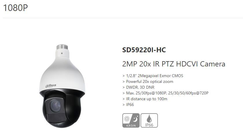 """""""Dahua SD59220I-HC PTZ"""" təhlükəsizlik kamerası"""
